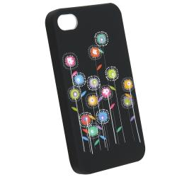 BasAcc Black/Multicolor Snap-On Rubber-Coated Case for Apple iPhone 4/4S