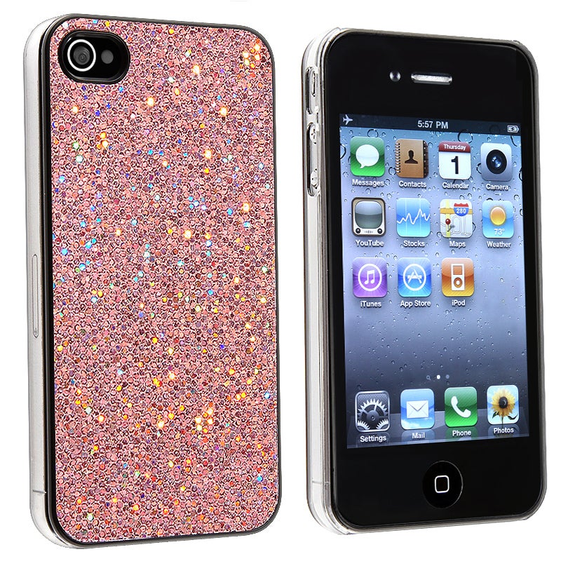 INSTEN Light Pink Bling Snap-on Phone Case Cover for Apple iPhone 4/ 4S