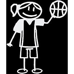 Vinyl Letter Decor 'Stick Basketball Girl' Stick Figure Car Decal