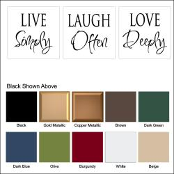 Vinyl Letter Decor 'Live Laugh Love' Wall or Glass Block Decals (Set of 3)