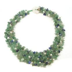 Green-Blue Cascades Aventurine-Pearl-Lapis Medley Trio Bib Necklace (Philippines)