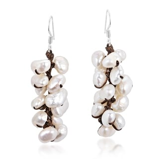 Cluster Freshwater White Pearl Drop Silver Earrings (Thailand)