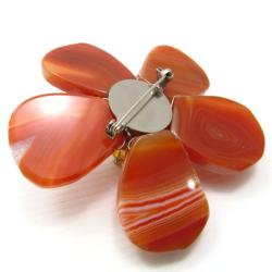 Orange Agate Floral Fashion Crystal Pin/Brooch (Thailand)