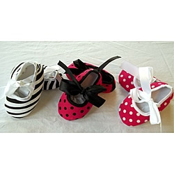 Just Girls Baby Multicolored Cotton Slip-on Crib Shoes (Set of Three)