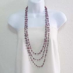 Pearl Orient Freshwater Dyed Purple Pearl Triple Strand Necklace (Thailand)