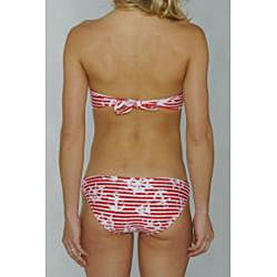 Island World Red Nautical Juniors Twisted Halter Top & Hipster Bikini Bottom