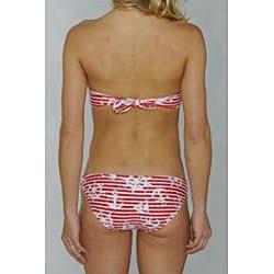 Island World Red Nautical Juniors Twisted Halter Top & Hipster Bikini Bottom