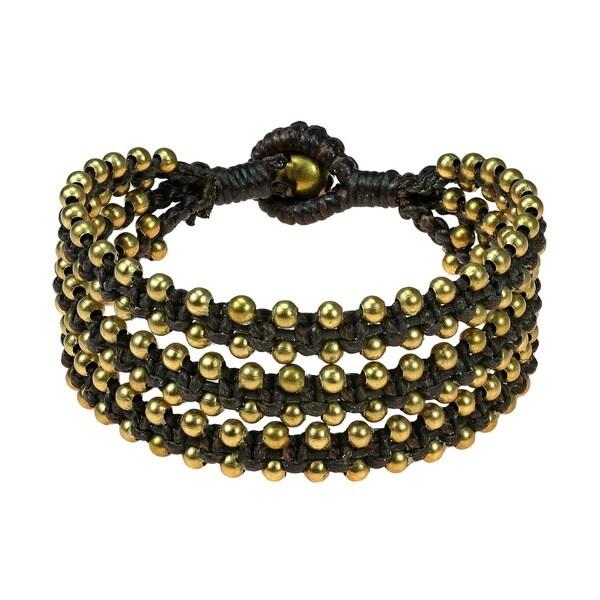Organic Beauty Brass Beads Triple Strand Bracelet (Thailand)