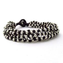 'Silver Melody' Cotton Rope Toggle Bracelet (Thailand)