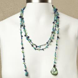 Sparkling Aura Blue Lapis-Green Turquoise Lariat Necklace (Thailand)