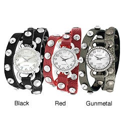 Geneva Platinum Women's Rhinestone Mother of Pearl Wrap-around Watch