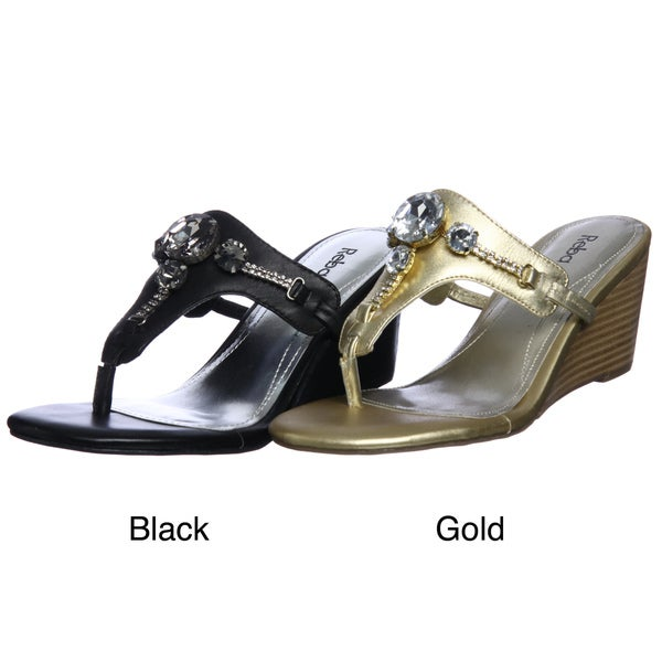 Reba Women's 'Riley' T-strap Wedge Sandals