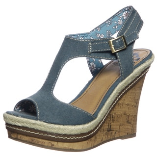Fergie Women's 'Queen' Blue Peep-toe Wedge Sandals