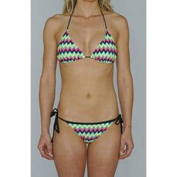 Island World Juniors Slide Triangle Halter Top & Tie Side Bikini Bottom in Neon Wave