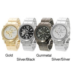 Geneva Platinum Men's Brushed Finish Quartz Link Watch