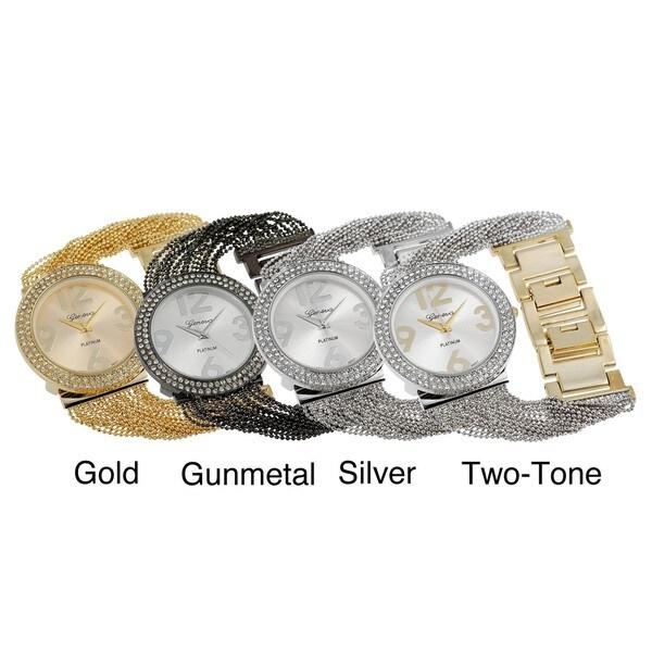 Geneva Platinum Women's Rhinestone-accented Multi-strand Link Watch