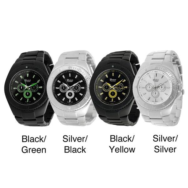 Geneva Platinum Chronograph-style Decorative-bezel Quartz Link Watch