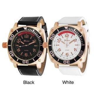 Geneva Platinum Men's Chronograph-style Simulated Leather Watch