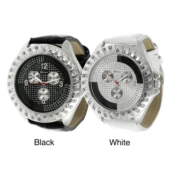 Geneva Platinum Rhinestone Chronograph Simulated Leather Watch