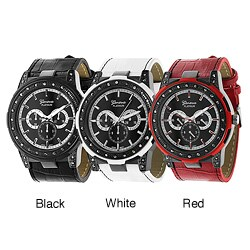 Geneva Platinum Women's Rhinestone Chronograph Simulated Leather Watch
