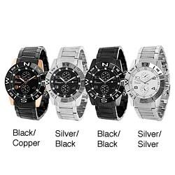 Geneva Platinum Men's Chronograph-Style Moisture-Resistant Link Watch