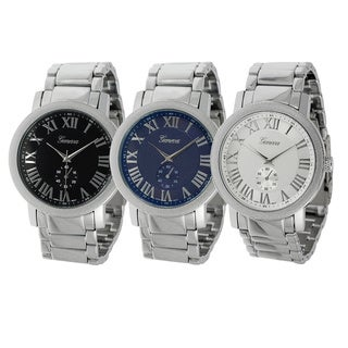Geneva Platinum Men's Roman Numeral Link Watch