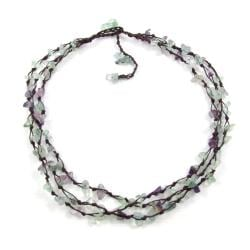 Trendy Layer Quartz Stone Flow Cotton Rope Necklace (Thailand)