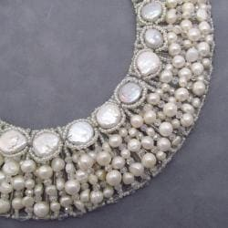 Pristine White Coin Freshwater Pearl Collar Necklace (Thailand)