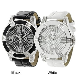 Geneva Platinum Women's Rhinestone-accented Simulated Leather Watch