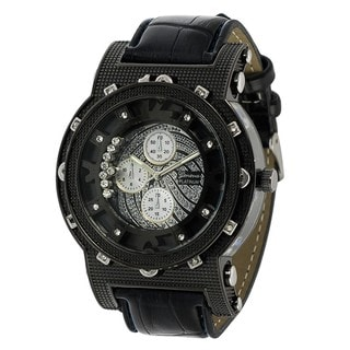 Geneva Platinum Chronograph-style Simulated Leather Watch