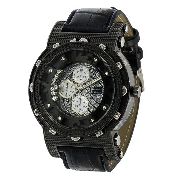 Geneva Platinum Chronograph-style Simulated Leather Watch