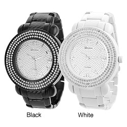 Geneva Platinum Men's Rhinestone Accent Link Watch