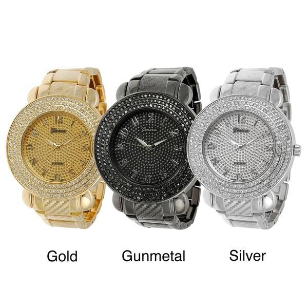 Geneva Platinum Men's Rhinestone Accent Link Watch