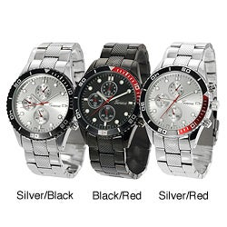 Geneva Platinum Men's Decorative Chronograph Link Watch