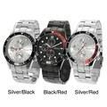 Geneva Platinum Men's Decorative Chronograph Link Watch