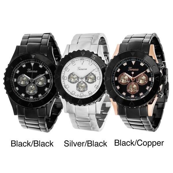Geneva Platinum Decorative Chronograph and Bezel Watch