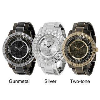 Geneva Platinum Men's Rhinestone-accented Link Watch