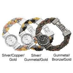 Geneva Platinum Women's Rhinestone-accented Braided Multi-strand Watch