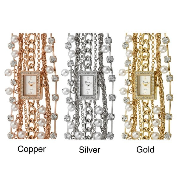 Geneva Platinum Women's Rhinestone and Faux Pearl-accented Link Watch