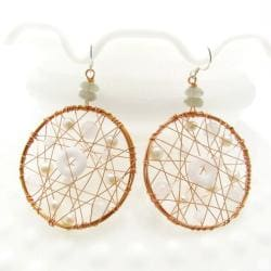 Meteor Web Freshwater White Pearl-Milky Quartz Earrings (Thailand)