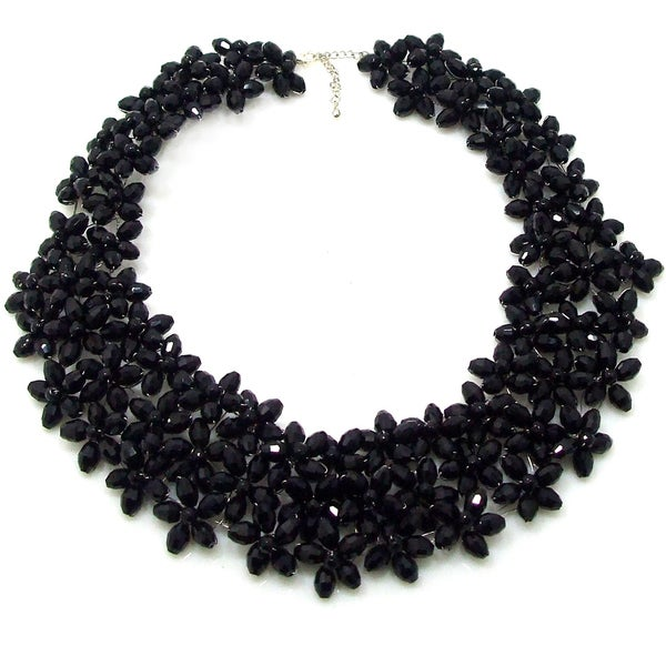 Lavish Mini Florals Black Crystal Statement Necklace (Thailand)