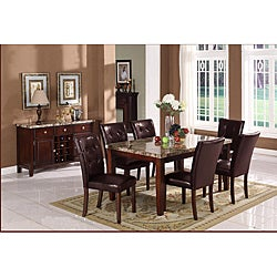 Radian Faux Marble 7-piece Dining Set with Brown Chairs