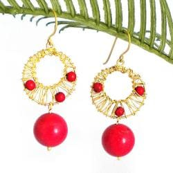 Red Mystery Brass Wire Works Red Coral Ball Dangle Earrings (Thailand)