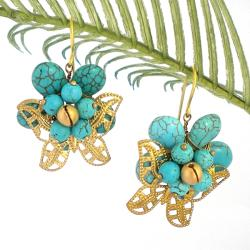 Brass Butterfly Turquoise Flower Romance Dangle Earrings (Thailand)