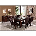 Radian Black Marble 7-piece Dining Set with Brown Chairs