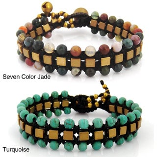 Brass Jade or Turquoise Square Unity Cotton Rope Bracelet (Thailand)