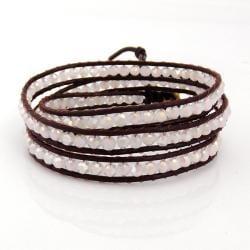 Brown Leather White Gloss Crystal Triple Wrap Bracelet (Thailand)