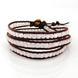 Brown Leather White Gloss Crystal Triple Wrap Bracelet (Thailand)
