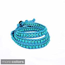 Flirty Red Turquoise Triple Wrap Leather Bracelet (Thailand)