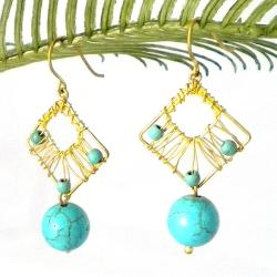 Blue Legacy Turquoise Stone Brass Wire Works Earrings (Thailand)